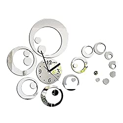 Asatr Creative Wall Clock Modern 3D Circle Acrylic Mirror Clocks Watch Removable Wall Sticker Home Decor DIY Room Decorations