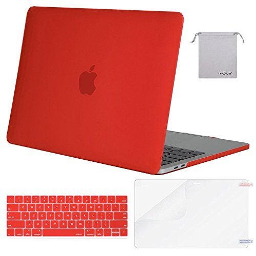 MOSISO MacBook Pro 13 Case 2018 2017 2016 Release A1989/A1706/A1708, Plastic Hard Shell & Keyboard Cover & Screen Protector & Storage Bag Compatible Newest Mac Pro 13 Inch, Red