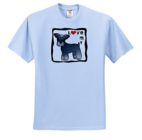 3dRose Janna Salak Designs Dogs - I Love My Miniature Schnauzer Dog - Banded Coat (Salt and Pepper) - Red Heart - T-Shirts - Adult Light-Blue-T-Shirt XL (ts_40884_53)