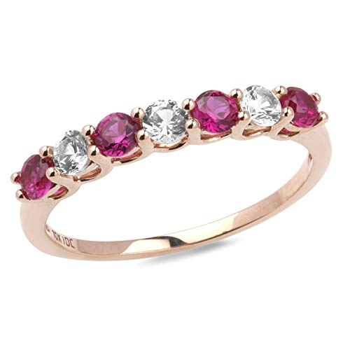 Lab created White Sapphire and Ruby Band in 10k Rose Gold-Size 8