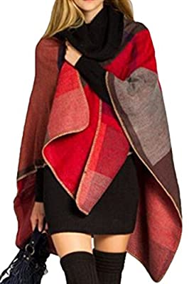 VamJump Women Cashmere Oversized Blanket Poncho Cape Shawl Long Cardigan Coat