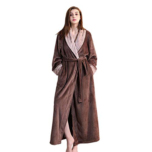 Bath Robe Long for Womens Plush Soft Warm Fleece Bathrobes Sleepwear Dressing Gown Housecoat (L, Coffee)