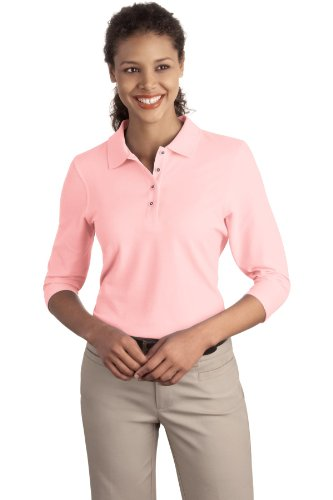 Double Placket (Port Authority Women's Silk Touch 3/4 Sleeve Polo XXL Light Pink)