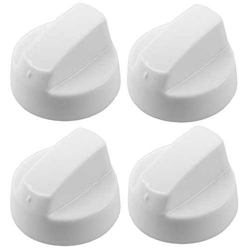 Spares2go White Control Knobs For Bosch Oven Cooker & Hob (Pack Of 4 + Adaptors)