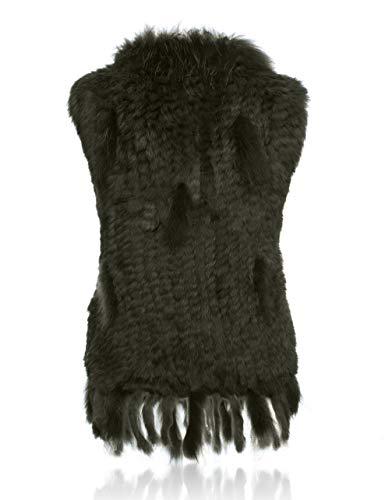 col de Fourrure de HEIZZI Lapin 100 tricot avec Veste Raccoon HxZ4cBwFq