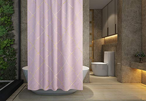 Jacrane Waterproof and Mildew Resistant Decorative Bathroom Shower Curtain Liner Custom Fabric Polyester Design,Argyle Abstract Geometric Yellow Gold Metal Plaid 72X72Inch Set with Hooks ()