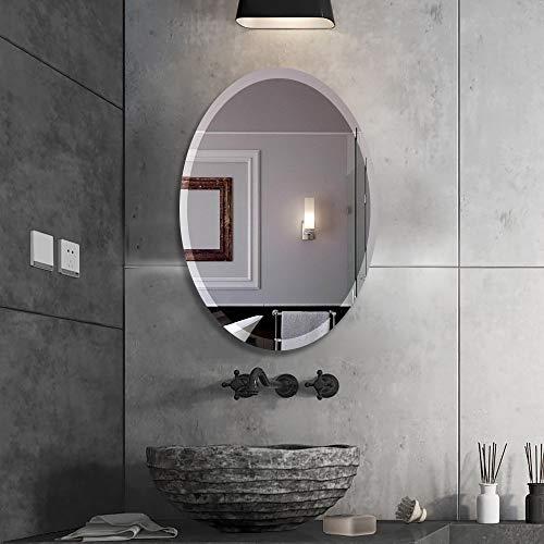 "Beauty4U Oval Beveled Frameless Wall Mirrors -20"" x28"" Vanity Make Up Mirror for Bathroom, Bedroom, Wall Décor"