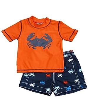 Carters Infant Boys Red Crab Rash Guard & Navy Blue Swim Trunks Set