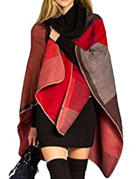 VamJump Women Cashmere Oversized Blanket Poncho Cape Shawl Long Cardigan Coat