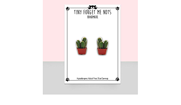 Plant lady jewelry Plant lover gifts Cactus earrings Cactus stud dangle earrings Unique earrings Wooden stud earrings