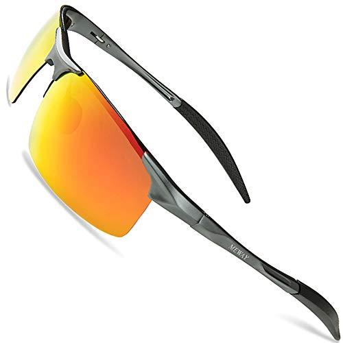 MEWAY Men's Fashion Driving Polarized Sunglasses for Men UV Protection Al-Mg Metal Frame Ultra Light ()