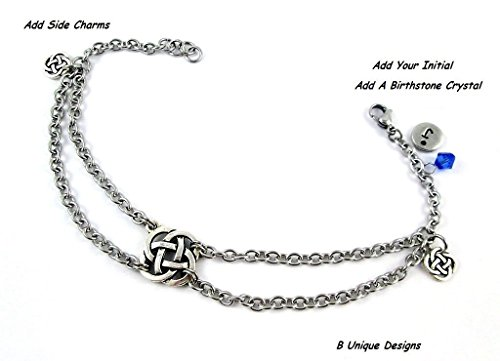 Celtic Knot Silver Charms Anklet Stainless Steel Chain Mail Personalized Jewelry Add Initial or Birthstone (Womens Celtic Charm)