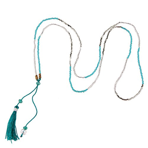 KELITCH Crystal Seed Beaded Chain Necklace with Tassel Pendant - Teal-green