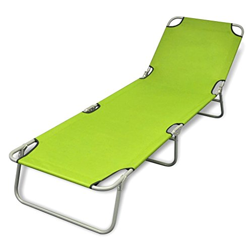 vidaXL Patio Green Folding Sun Lounger Bed Outdoor Portable Beach Camp Metal Review