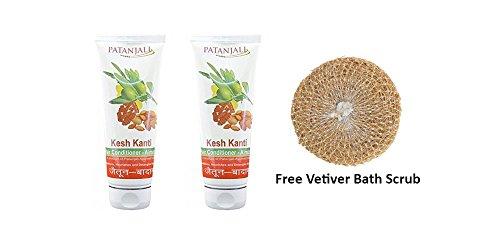 2 x Patanjali Kesh Kanti Hair Conditioner - Almond 100g (3.53 oz) + Free Vetiver Bath Scrub