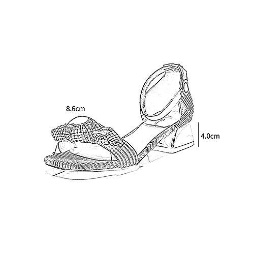UK6 Nudo Planos Baja Boca 5 Color Zapatos De Medio EU39 Talón Mujer Mariposa Tamaño PU Palabra 2 De YQQ De Pequeño Fresco Zapatos Hebilla Zapatos Enrejado Altos Sandalias Tacones 7PpHP0