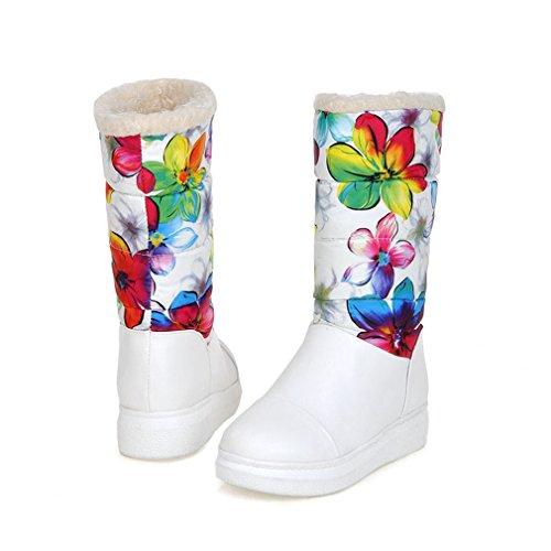 Giy Botas De Nieve Impermeables Para Mujer De Invierno Botas De Nieve De Media Pantorrilla Botas De Nieve Forradas De Piel Cálida Para Mujer Botas Blancas De Nieve