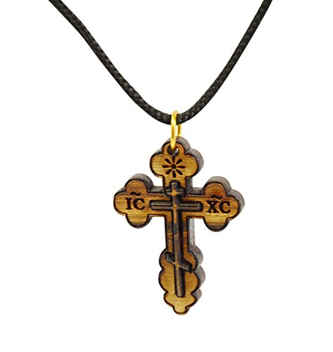 AUTHENTIC Eastern St. Nicholas Bethlehem Olive Wood Cross Necklace in Cotton Pouch - Cross Necklace for Men and Women