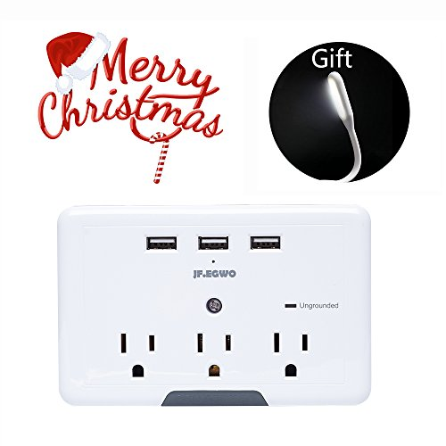 Multi Plug 3 Outlets 3 USB Ports, Wall Plug Surge Protector USB, 3.1 A 918 Joules USB Outlet Adapter, USB Wall Plug Charging Stations, Wall Mount USB Multi Outlet Plug ()