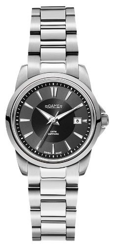 Roamer Ares Women's Quartz Watch with Black Dial Analogue Display and Silver Stainless Steel Bracelet 730844 41 55 70