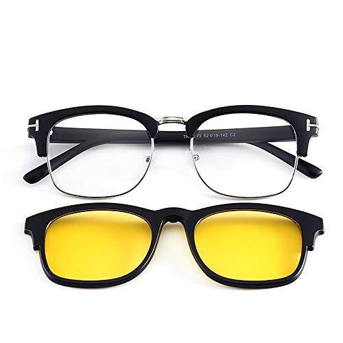 de de polarizadas Marco Gafas Hombres Medio para C Espejos magnéticos Gafas Sol de KOMNY Sol D Clips Marcos magnéticas miopía de nxStcfT7