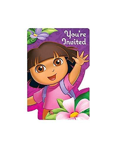 Dora Invitation - Bargain World Dora Party Invitations (8/pkg) (with Sticky Notes)