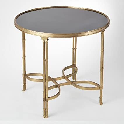 Superieur Brass Gold Bamboo Leg Side Entry Table | Metal Black Granite Classic  Minimalist