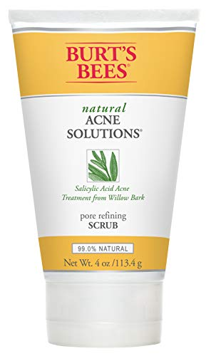 Burt's Bees Natural Acne Solutions Pore Refining Scrub, Exfoliating Face Wash for Oily Skin, 4 Ounces (Best Natural Pore Cleanser)