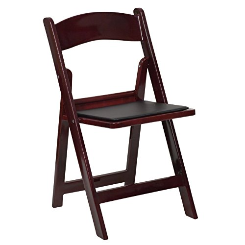 Flash Furniture HERCULES Series 1000 lb. Capacity Red Mahogany Resin Folding Chair with Black Vinyl Padded Seat - Set Wood Finish Folding Chair