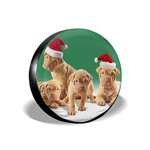 Waterproof Tire Cover - Brown Christmas Puppies Tire Sun Protectors Weatherproof Wheel Tire Cover Liberty Spare Tire Cover 15 Inch]()