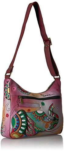 Anuschka retro Elephant Leather Elp Women'S Medium Hand Painted Anna Shoulder Hobo gqrwgOnR