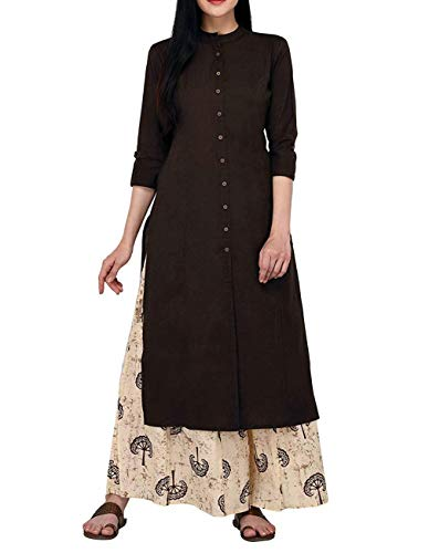 (Women's Pure Cotton Plain Tunic Top Front Slit 3/4 Sleeves Roll-UP Chinese Neck Buttons Down Pocket Long Kurti Kurta)