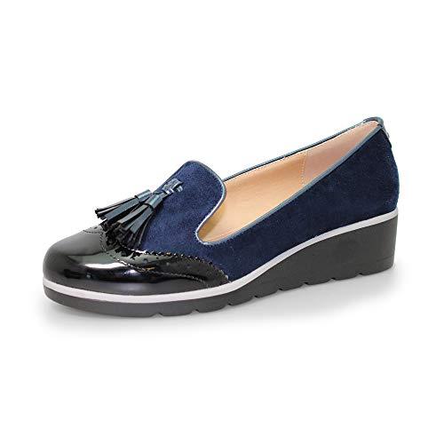Para Lunar De Azul Vestir Zapatos Mujer q0t4avU