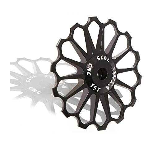 LOLTRA 8T 10T 11T 12T 13T 14T 15T 16T 17T Ceramic Bearing Alloy MTB Bicycle Rear Derailleur Pulley Jockey Wheel Road Bike Guide Roller(15T, Black)