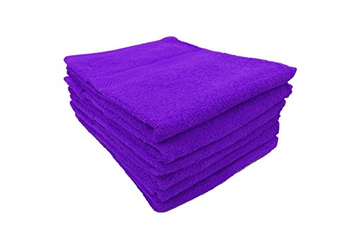 Terry Cotton Hand Towels, Purple, Set of 6