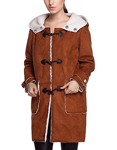 Shearling Toggle Jacket (Women Winter Overcoat Fleece Shearling Toggle Coat Warm Long Trench Coat (XL, Brown))