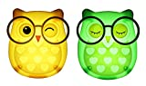 2 PCS Owl LED Plug in Night Light for Kids- Wall Lamp Take Good Care Children Sleep Light Sensor Auto Controlled Nightlights for Baby Nursing (Yellow+Green) For Sale