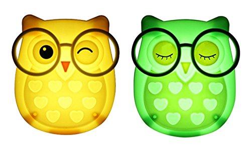 2 PCS Owl LED Plug in Night Light for Kids- Wall Lamp Take Good Care Children Sleep Light Sensor Auto Controlled Nightlights for Baby Nursing (Yellow+Green)