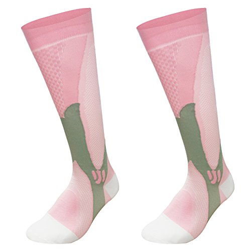 Graduated Compression Sock for Men Women Boost Performance Circulation Athletic Recovery Best for Running Nursing Pink Small/Medium