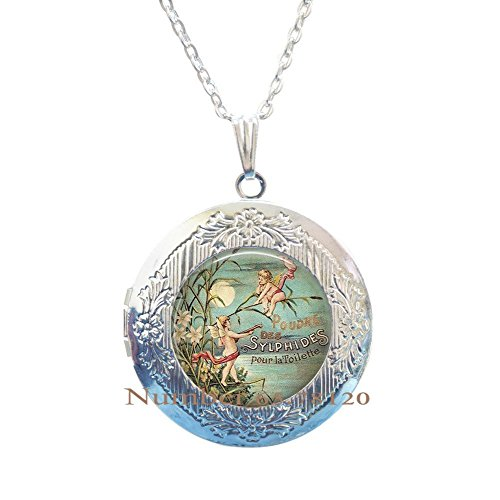 Cherubs Moon Locket Necklace Full Moon Pendant Cherubs Full Moon Jewelry Gift - Full Moon Locket Necklace Pendant - Cherubs Moon Jewelry Full Moon Locket Necklace Pendant Moon JewelryBV103 (V1)