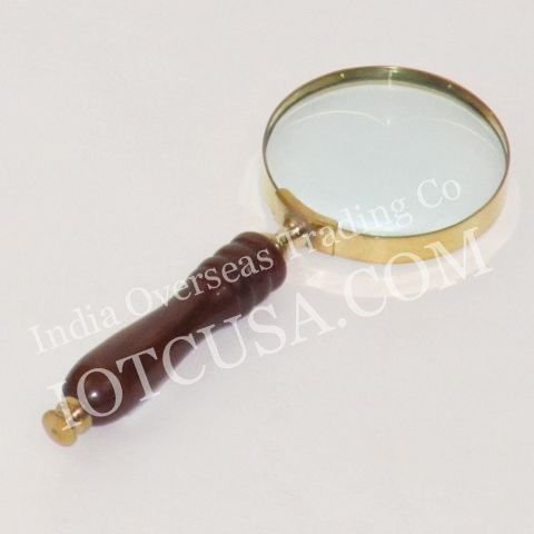 Handtooled Handcrafted Brass Magnify Glass W/ Hardwood - Online Tiffany Uk