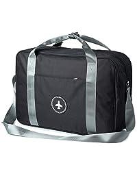 RoLekim Carry on Bag Tote Duffel Under Seat Weekender Overnight Luggage Trolley Handle Bag for Men Women Black