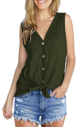 fitglam Womens Waffle Knit Tunic Blouse Sleeveless Shirts Tie Front Button Down Loose Fitting Tank Tops, Dark Green S ()