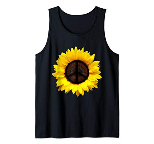 Sunflower Peace Sign Retro 60s 70s Love Kindness Tank Top