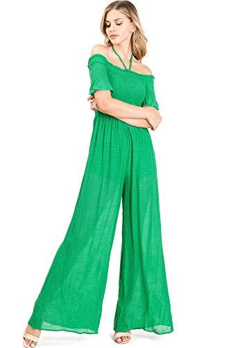 Flying Tomato Women's Juniors Boho Wide Leg Linen Jumper (L, Green)