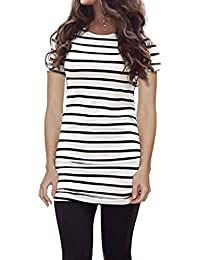 Women's Summer Short Sleeve Striped Tee Shirt Black and White Striped Tops