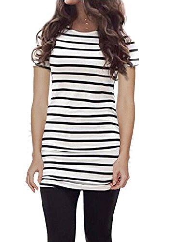 Myobe Women's Summer Short Sleeve Striped Tee Shirt Black and White Striped Tops(White,XXL