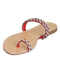 Fashion Flip Flop, H2K PIXEL Women's Beach Summer Beaded Toe Strap Flip-Flop [Thong Sandal] Comfortable Flat Slipper - Red, 6 M [US Size]