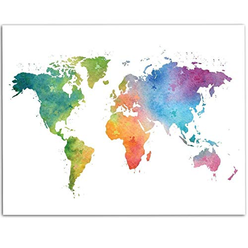 Watercolor World Map - 11x14 Unframed Art Print - Great Living Room Decor and Gift for Travellers, Also Makes a Great Gift Under - Art Print Map Poster