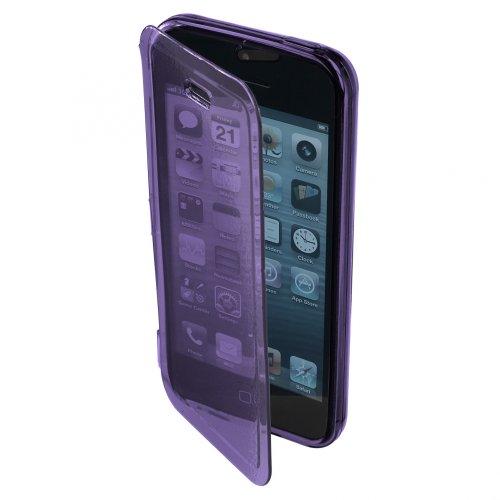 Ultra Jelly Case Gummihülle Hülle mit Klappe für Display für Apple iPhone 5C / 5 C, Lila, leicht Transparent, Durchsichtig, Silikonhülle, Schutzhülle, Handyhülle, Schale, Etui, Buchtasche, Buchhülle,